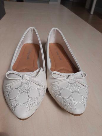 Baleriny buty komunia białe 37
