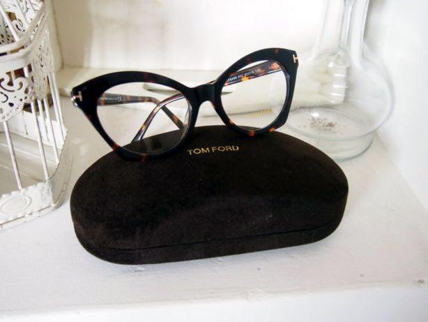 Okulary oprawki Tom Ford brązowe damskie piękne zerówki cat eye kocie
