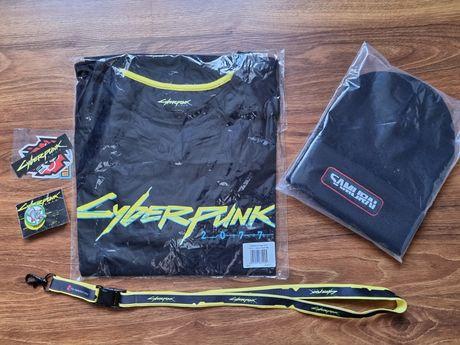 Komplet Cyberpunk 2077 - nowa koszulka M, czapka, smycz, wlepy