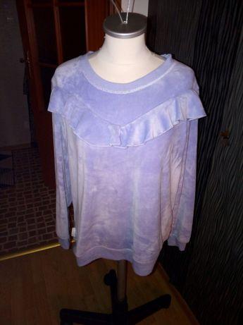 jasno niebieska bluza z falbanka plusz