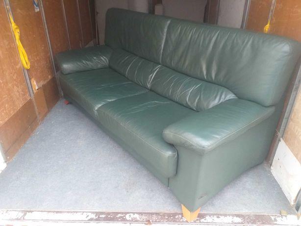 Sofá de cabedal verde