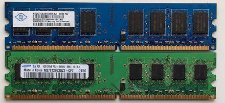 ОЗУ DDR2 1GB, 2GB по одной планке.