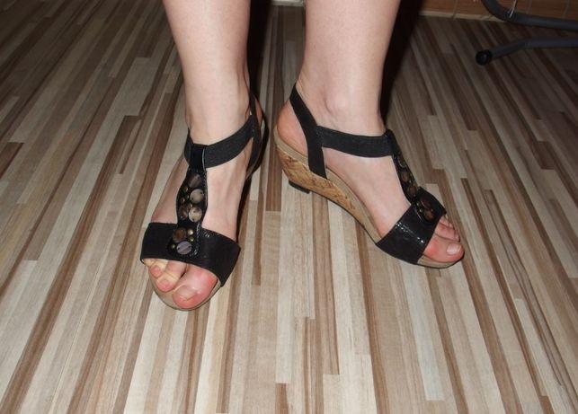 Lotus ecco skórzane sandały damskie na koturnie sandałki 36
