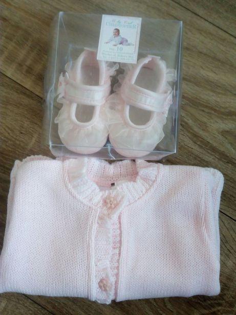 Sweterek roz. 68 cm i buciki niechodki roz. 10
