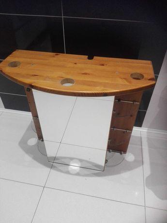 Szafka z drewna z lustrem do łazienki