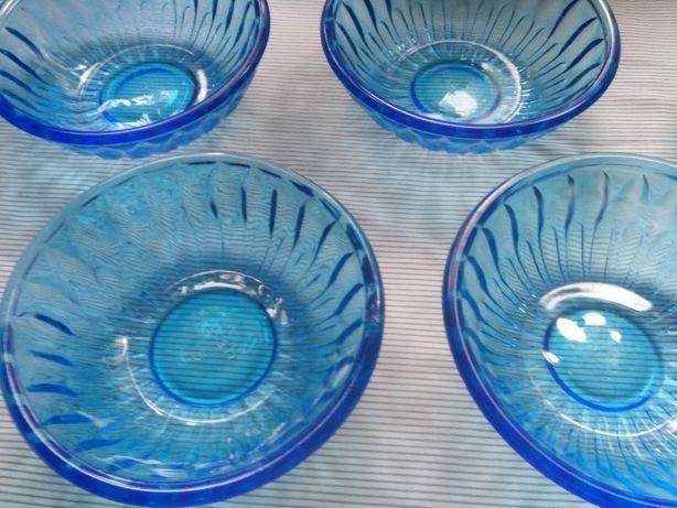 Тарелки синее стекло ссср посуда стеклянная салатник