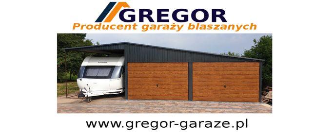 Garaż blaszany 6x5m blaszak złoty dąb orzech wiata