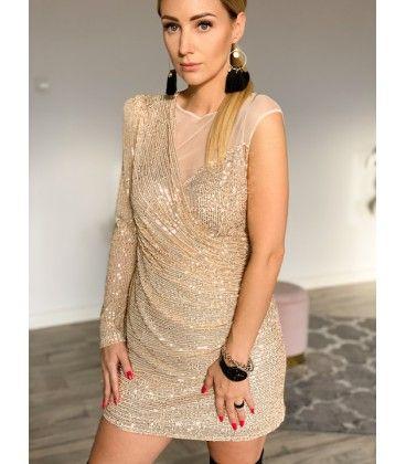 Sukienka złota cekinowa wesele butik Varlesca nowa S 36
