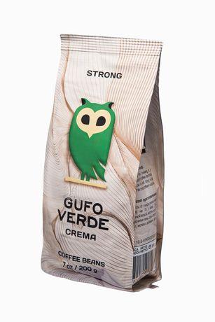 """Кава в зернах свіжообсмажена ТМ """"Gufo Verde"""" Crema 200г Горіховий"""