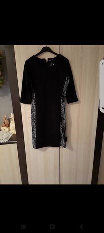 Sukienka czarna ze srobnym brokatem