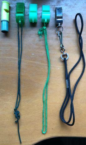 Lote de 5 Apitos / Assobios de Árbritro Verde e Cinzento (Vintage)