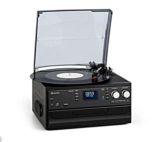 Wieża Auna Czarny Dąb Gramofon , CD, USB, SD