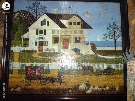 Obraz z puzzli wraz z ramą