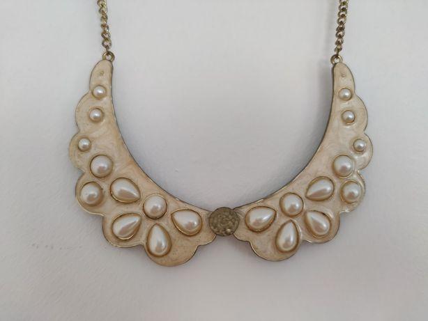 Kolia naszyjnik kremowa złota z perłami