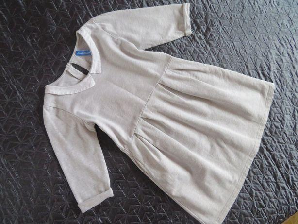 5.10.15 sukienka z kołnierzykiem, SZARA, (7-8 lat) 128 cm