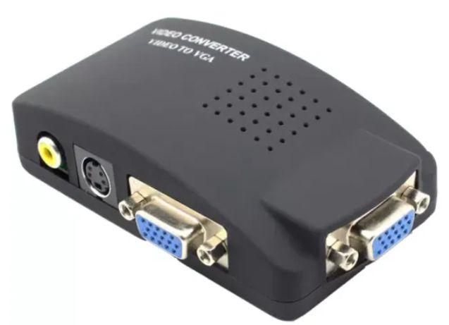 Конвертер Видео адаптер AV (RCA) тюльпан, S-Video на VGA