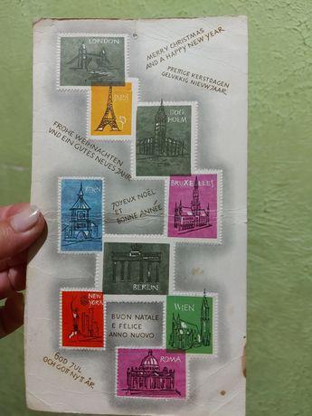 Блок почтовых марок города Европы