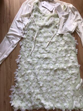 Элегантный комплект платье в лепестках + болеро Италия