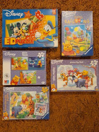 Disney - 7szt puzzle Kubuś  Puchatek+puzzle edukacyjne Donald+gra
