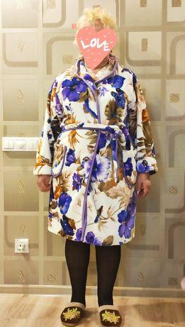 Пушистый махровый халат на запах, размер 48-50