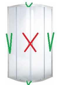 Kabina prysznicowa półokrągła Onega 90 x 90 x 190 cm 509797 bez drzwi
