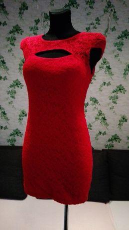 super czerwona sukienka koronka