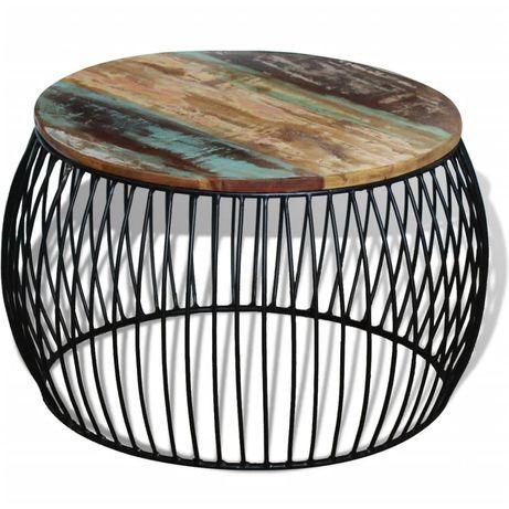 vidaXL Mesa centro redonda 68x43 cm madeira reciclada maciça 243300