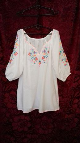 Atmosphere 100% хлопок свободное платье туника блузка вышиванка 46-50р