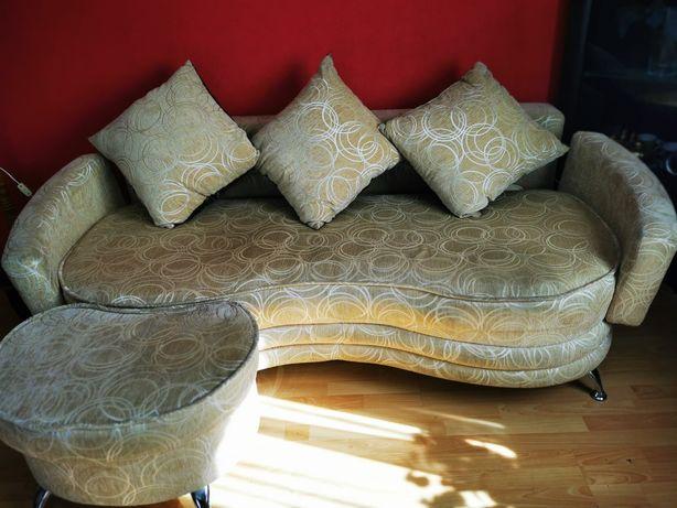 Komplet wypoczynkowy sofa+2 fotele+duża pufa