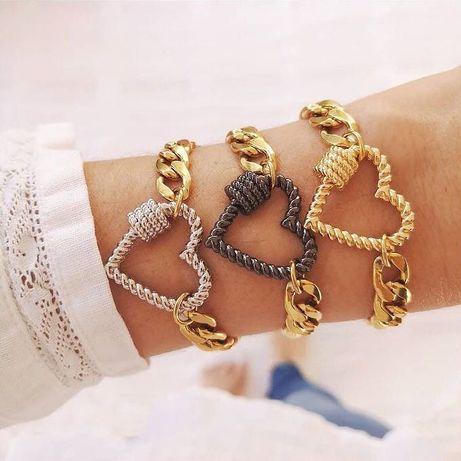 Pulseira dourada aço inoxidável com coração