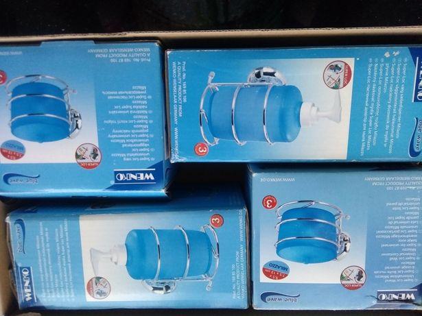 Komplety łazienkowe niebieski plus chrom przyklejane ekspozycja