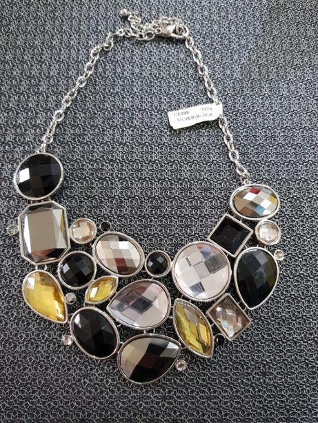 NAszyjnik duży srebrny kolorowe kamienie kryształy nowy