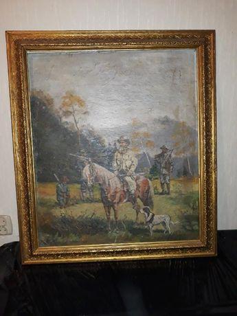 Obraz olejny myśliwy na koniu