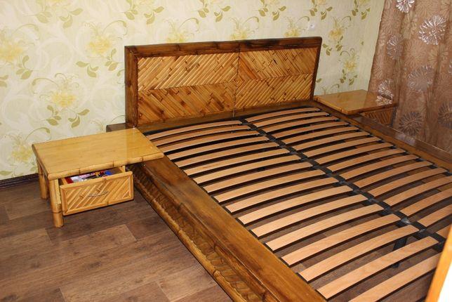 Кровать двухместная из БАМБУКА с тумбочками