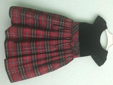 Нарядное платье детское - бархат+тафта с пышным низом на рост 100 см