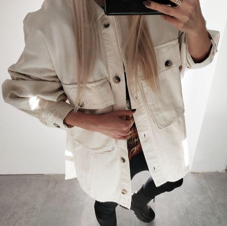Kurtka koszulowa Zara beżowa bawełniana z dużymi kieszeniami s m l