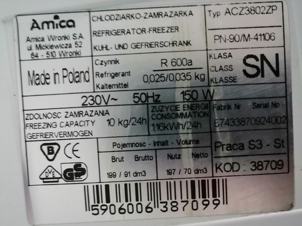 Lodówka do zabudowy Amica typ ACZ3802ZP
