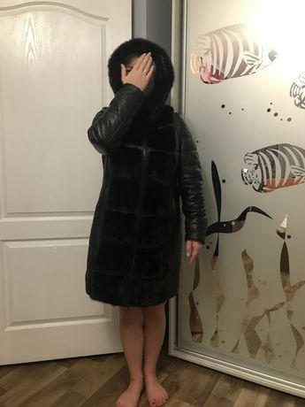 Кожанная куртка  с норкой трансформер