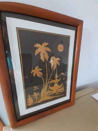Quadro artesanal (folhas de bananeira)