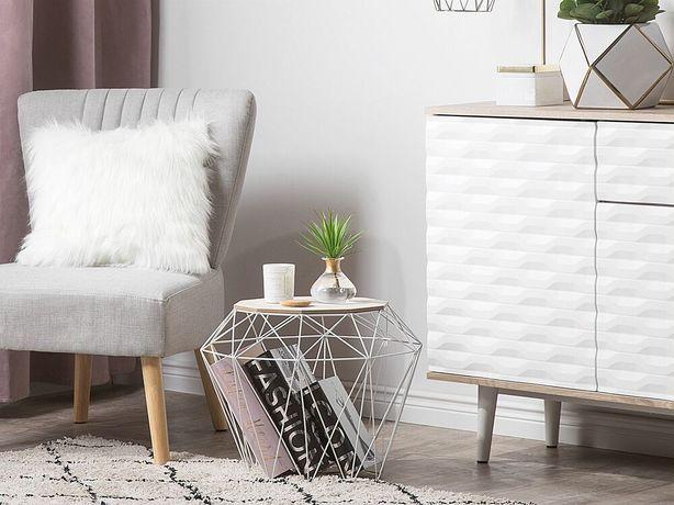 Mesa de apoio castanha clara e branco ELIDA - Beliani