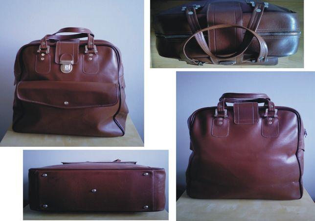 brązowa duża torba podróżna PRL retro vintage