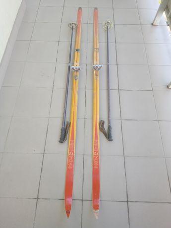 Лыжи с палками Тиса 72, взрослые 220 см.