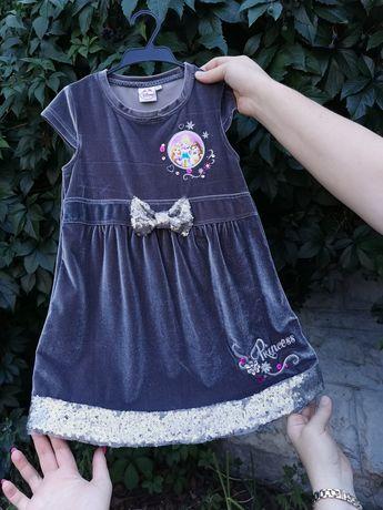 Шикарное велюровое детское платье, Disney, на 6 лет, длина 60см, 230гр