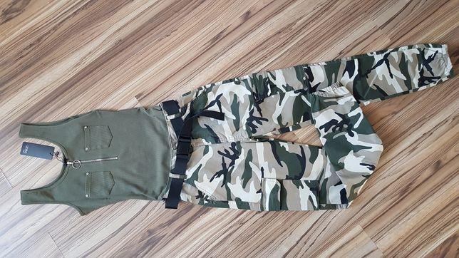 Spodnie moro z paskiem bojówki   l