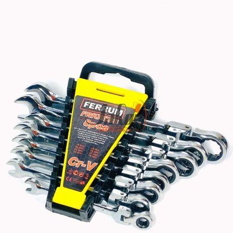 Ключи с трещоткой 8 шт. набор рожково-накидных ключей Ferrum CR-V