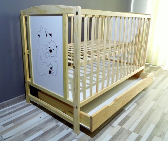 Łóźeczko dziecęce + komplet elementów zamiennych.