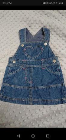Jeansowa sukienka na szelkach Lupilu rozmiar 62-68