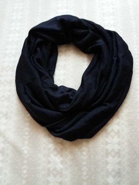 Nowy czarny szalik komin prążki paski cienki