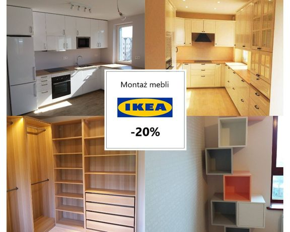 -20% montaż, skłanie mebli IKEA. Szafy, łóżka, regały i inne.
