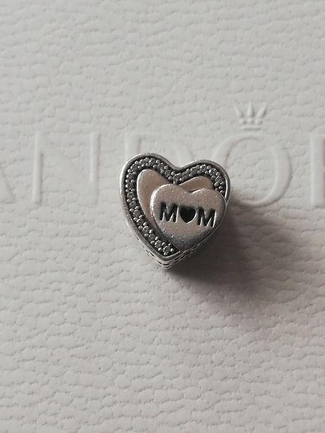 Pandora charms serce Wyjątkowa mama MOM